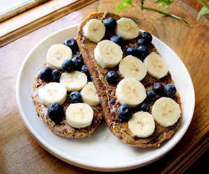 banana, food, and blueberry image