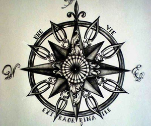 compass, drawing, and tattoo image