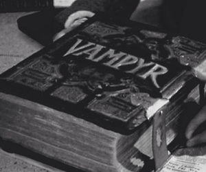 book, vampire, and black and white image