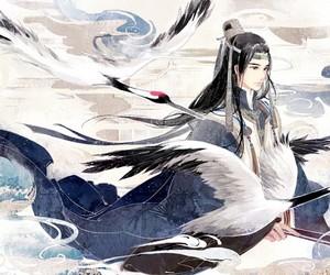 anime, art, and crane image