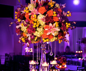 flowers, candles, and centerpiece image