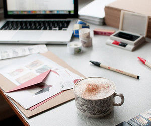 coffee, laptop, and study image