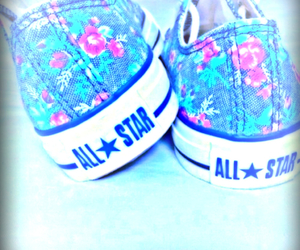 all star, converse, and flowers image