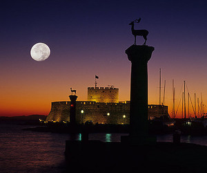 Greece, moon, and Island image