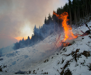 fire, snow, and beautiful image