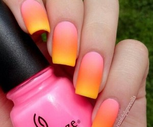 nails, pink, and orange image