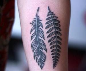 tattoo, feather, and leaves image