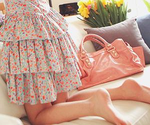 bag, floral print, and dress image