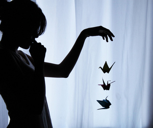 girl, black and white, and origami image