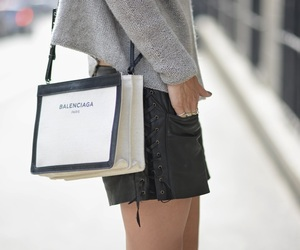 bag, leather, and shorts image
