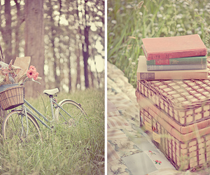 vintage, book, and bike image