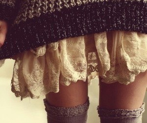 sweater, outfit, and skirt image