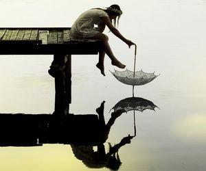 girl, umbrella, and water image