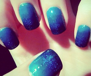 blue, nail art, and ombre image