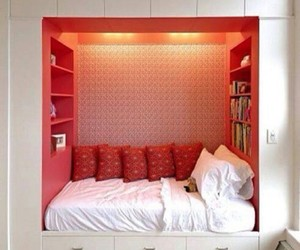 bed, bedroom, and books image