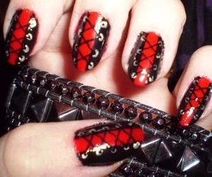black, bracelet, and nail art image