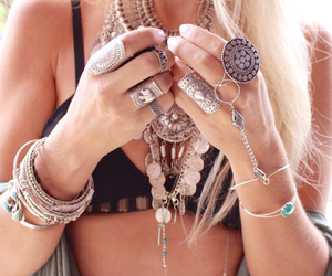 beautiful, blonde, and bracelets image