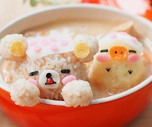 yummy pink, cute kawaii sweet rice, and noodle meal egg image