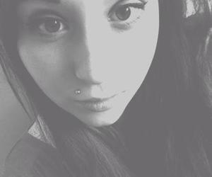 black and white, girl.beautiful, and piercing image