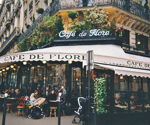 cafe, france, and flowers image