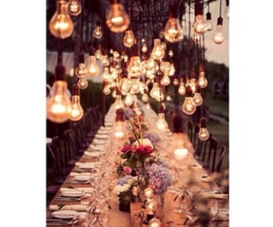 lights, dinner, and flowers image