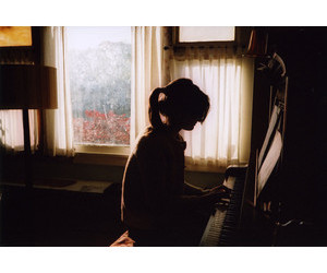 girl, piano', and alone' image