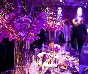 purple, flowers, and wedding image