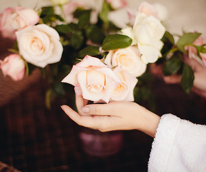 floral, flower, and hands image