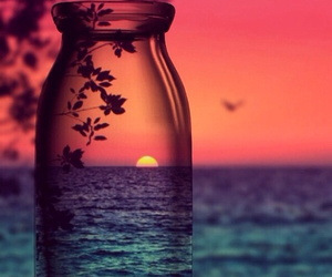 art, photography, and sunset image
