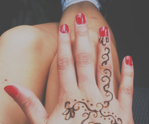 converse, henna tattoo, and red nails image