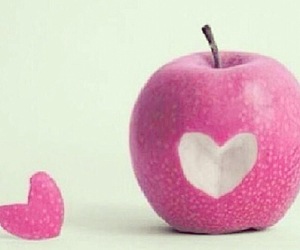 apple, heart, and pink image