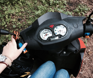clock, hand, and motorcycle image
