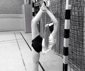 bw, cheerleader, and flexibility image