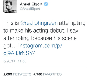 john green, tfios, and ansel elgort image