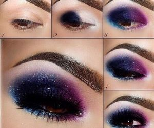 makeup, eyes, and galaxy image