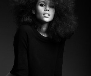 Afro, black woman, and model image