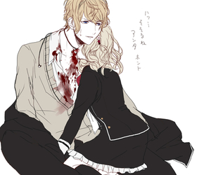 anime, blood, and couple image