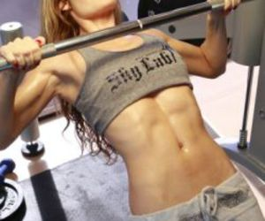 abs, weights, and blonde image