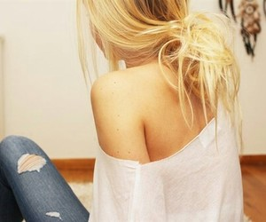 blond hair, clothes, and girl image