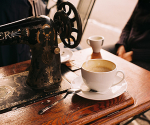 coffee, vintage, and sewing machine image