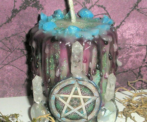 candle, pentagram, and witch image