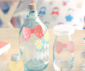 cute, bottle, and bow image