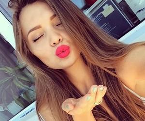 girl, kiss, and lips image