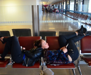airport, girls, and red image