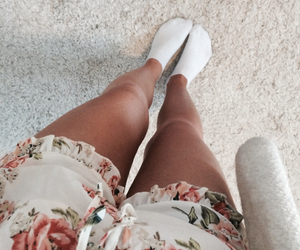 love, flowers, and legs image