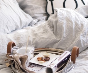 bed, breakfast, and white image