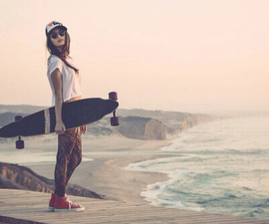 girl, beach, and skate image