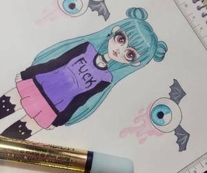 drawing, kawaii, and girl image