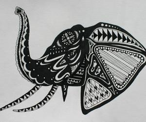 black and white, drawing, and elephant image