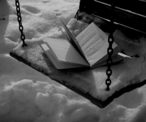 book, snow, and swing image